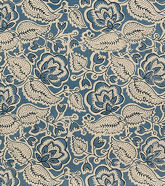 Bergamot Leaf Wallpaper - Azure and Indigo