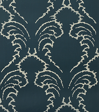 Pineapple Frond Wallpaper - Cream on Indigo