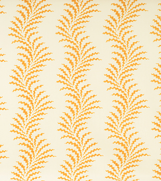 Scrolling Fern Frond - Indian Yellow - Ivory Linen