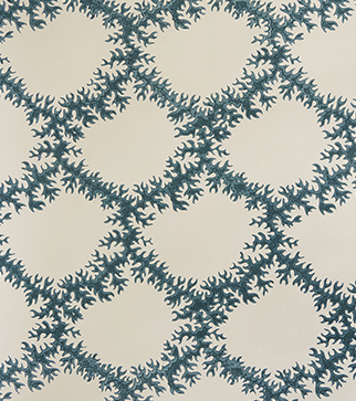 Seaweed Lace Wallpaper - Indigo