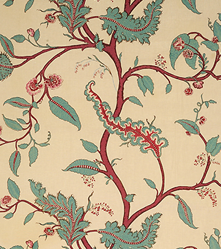Tendril Vine - Turquoise and Pomegranate - Stone Linen