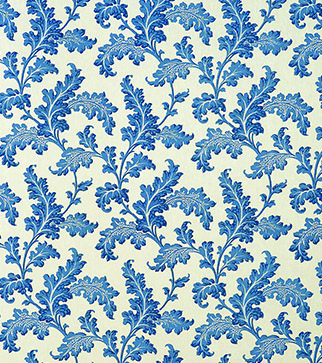 Scrolling Acanthus - Cobalt - Ivory Linen
