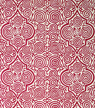 Persian Maze - Lacquer Red - Ivory Linen