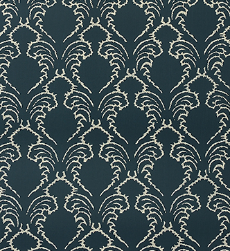 Etched Pineapple Wallpaper - Cream on Indigo