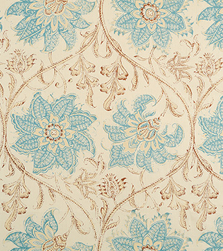 Palampore Blossom - Blue and Brown - Stone Linen